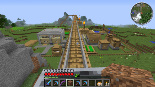 Rail from Tower of Mystery to Renovated Village